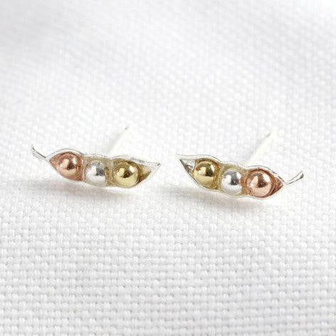 Mixed Metal Three Peas in a Pod Stud Earrings
