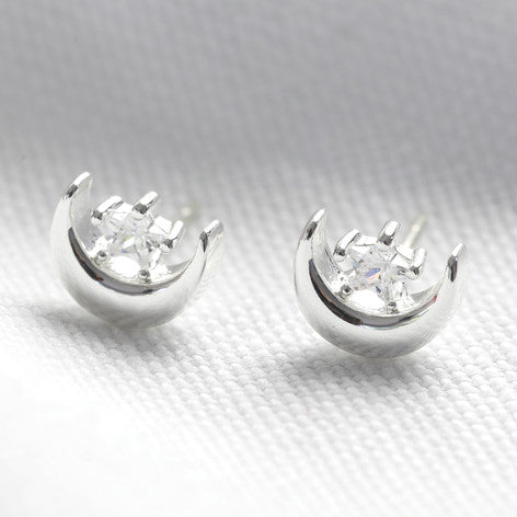 Moon and Crystal Stud Earrings in Silver