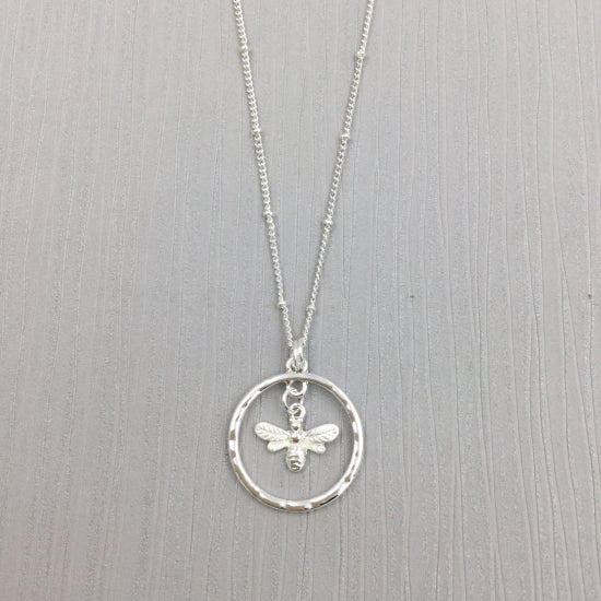 Gracee Silver Bee Necklace