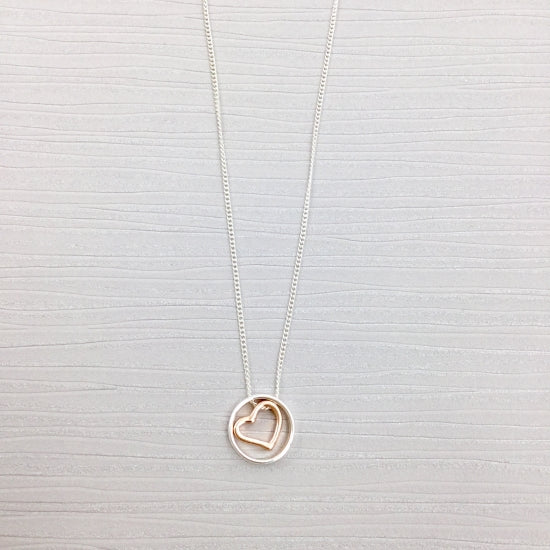 Gracee Silver and Rose Gold Heart Necklace