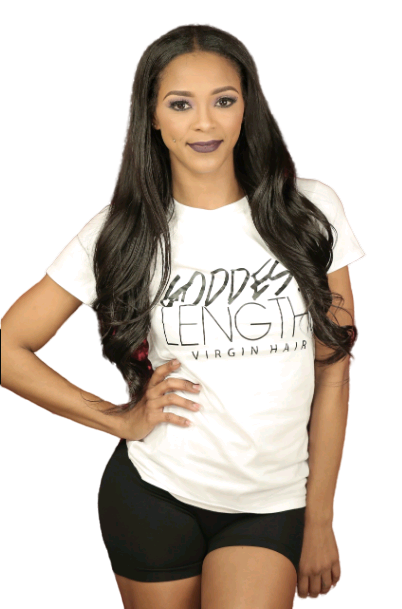 GODDESS LENGTHS VIRGIN HAIR LOGO TEE  (WHITE TEE / BLACK LOGO)