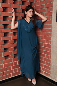 Cowl Frilled Neck Dress