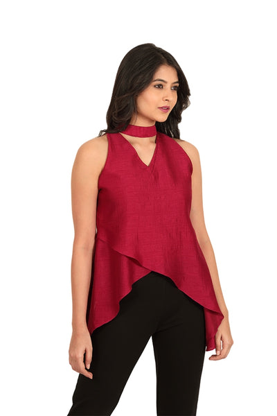 Choker Neck Asymmetric Double Layer Top