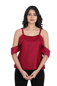 Maroon Strappy Cold Shoulder Top with cutout cap sleeves
