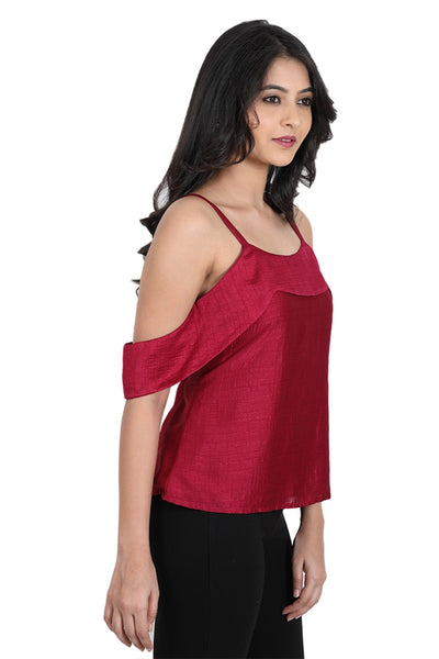 Summer wear | Party wear | Cocktail wear designer Maroon Strappy Cold Shoulder Top with cutout sleeves