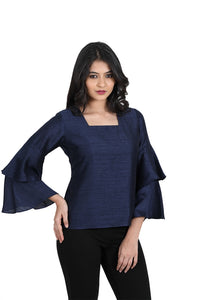 designer casual blue square neck long sleeve tops for girls and women