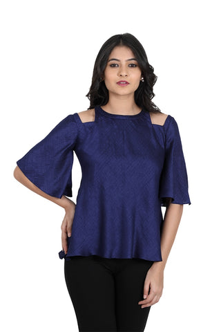 Royal blue square cold shoulder top with round collar neckline and comfortable bell sleeves of linen satin material. This top has been designed from plain linen satin fabric with cut bell sleeves. This designer top gives the wearer a slim appearance along with shape. Top has elbow length bell sleeves.