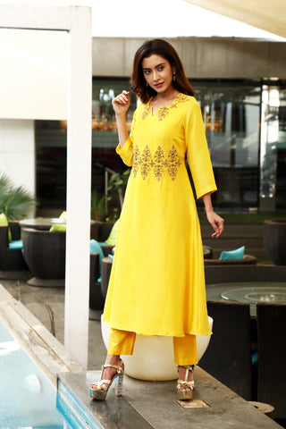 Yellow Embroidered Kurta and Pant