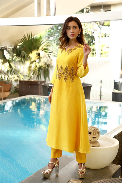 Waistline Embroidered Kurta and Pant