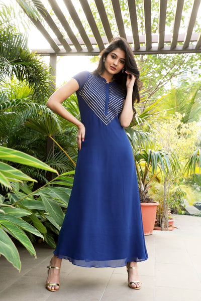 V-Neck Lines Pipe Embroidered Blue Gown