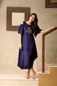 Centre Embroidery Cowled Dress