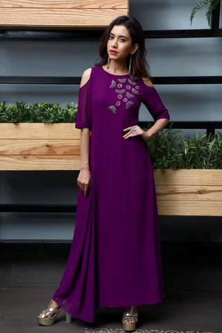 full length partywear cold shoulder gown has round boat neck