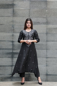 Monochrome Embroidered Kurta Set