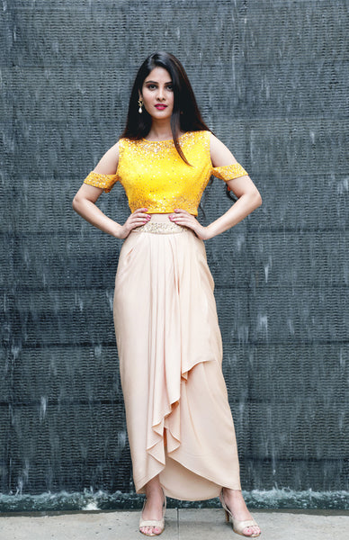 Embellished Crop Top and Dhoti Draped Skirt