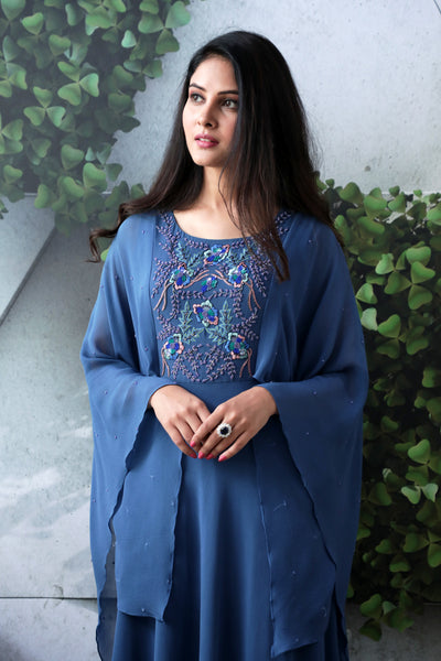 Embroidered Butterfly Cape Gown