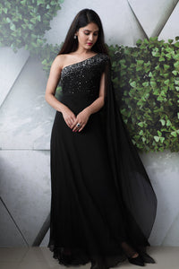 Designer Black One Shoulder Party, function, occasion or cocktail wear Gown