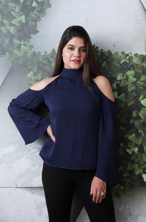 Navy blue cut shoulder full length of  sleeves with pack stand collar