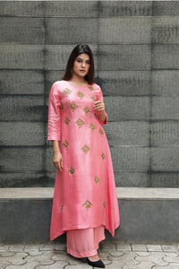 A-line Embroidered Kurta Set