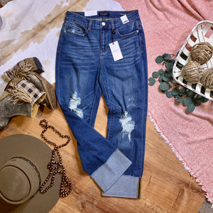 Cuffed Destroyed Straight Leg Jeans