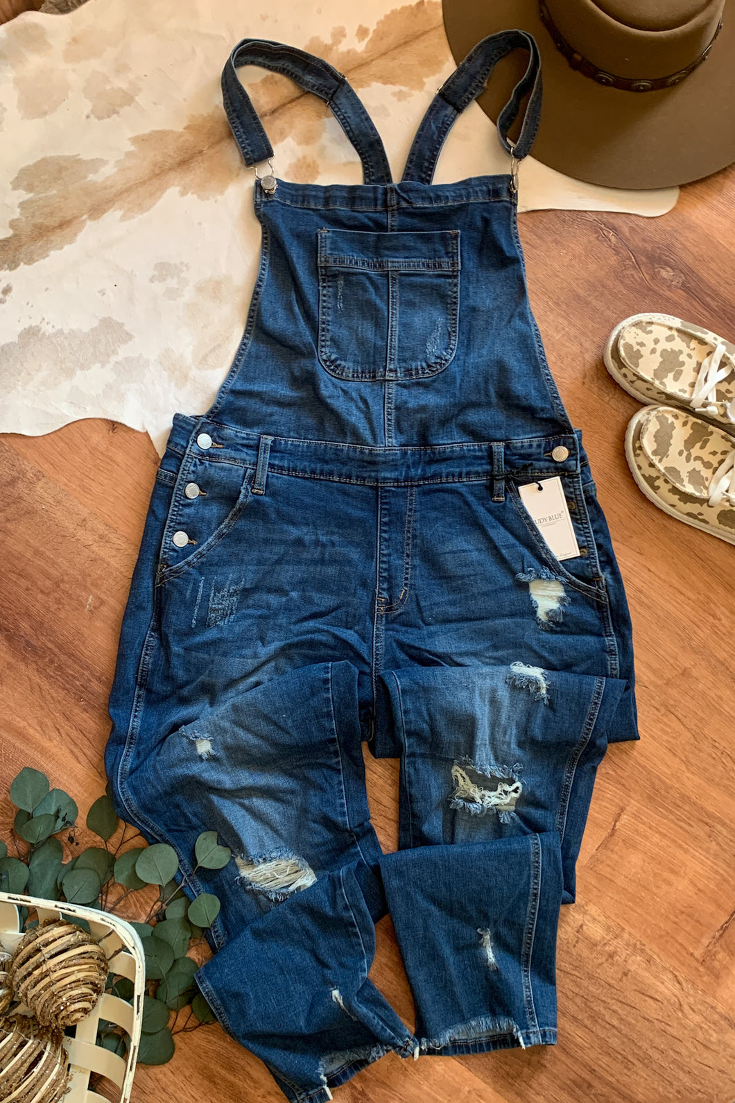 Plus Destroyed Boyfriend Overalls