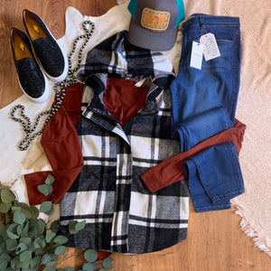 Plaid Checkered Hoodie Vest