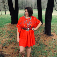 Load image into Gallery viewer, Red, embroidered dress with wide sleeves. Hits above the knee.
