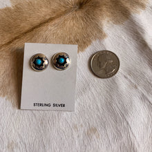 Load image into Gallery viewer, Round Shadowbox Starburst Turquoise Stud Earring