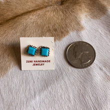 Load image into Gallery viewer, Petite Square Turquoise Stud Earrings