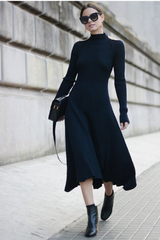 Long-Sleeve Midi Dress and Ankle Boots