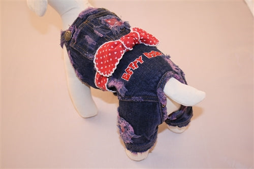 Distressed Denim Jumper - Betty Boop Dog Clothes