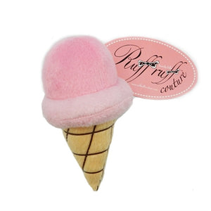 Strawberry Gelato Ice Cream Cone Plush Dog Toy - Ruff Ruff Couture