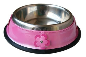 Pink Dog Bowl with Hot Pink Flowers
