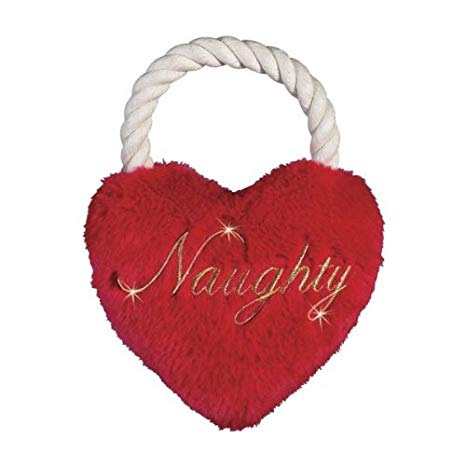 Zanies Plush Rope Holiday Heart Tugs Dog Toy - Naughty