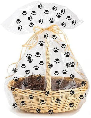 Paw Prints Cellophane Gift Basket Packaging