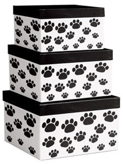 Paw Prints square Nested Boxes - 3 Piece Gloss Gift Boxes