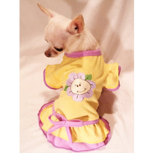 Happy Flower Ruffled Dog Dress - Platinum Puppy Couture