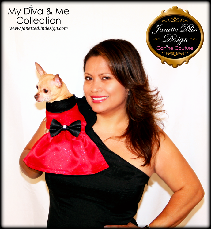 Arabella Red Dog Dress - Janette Dlin Design