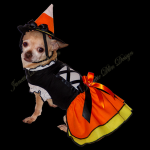 Halloween Candy Corn Witch Dog Dress-JanetteDlinDesign