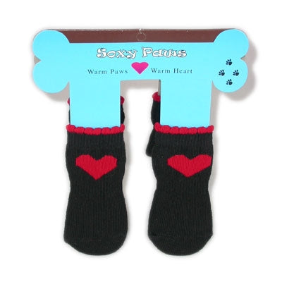Red Hearts - Black Soxy Paws - Puppe Love