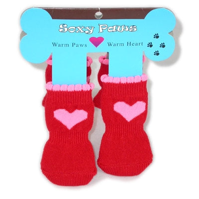 Pink Hearts - Red Soxy Paws - Puppe Love