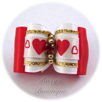 Valentine Wish - White - Adult Dog Bow