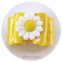 Lemon and White Dots - Adult Dog Bow