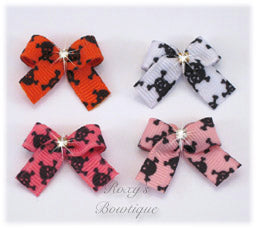 Skull and Crossbones Baby Dog Bow
