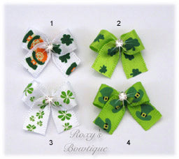 Lucky Shamrocks Dog Bow - Baby Dog Bow