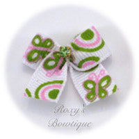 Pink & Green Butterflies Dog Bow - Baby Dog Bow