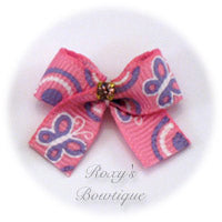 Pink & Purple Butterflies Dog Bow - Baby Dog Bow