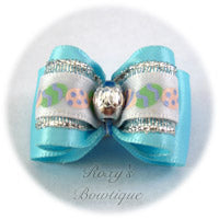 Silver Easter Eggs - Ocean Blue - Adult Dog Bow