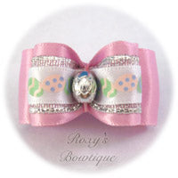 Silver Easter Eggs - Pink - Adult Dog Bow