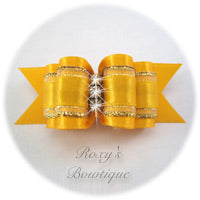 Fancy Yellow Gold with Crystals Adult Dog Show Bow