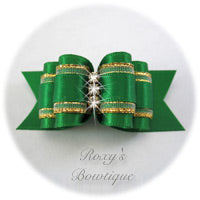 Fancy Emerald with Crystals Adult Dog Show Bow